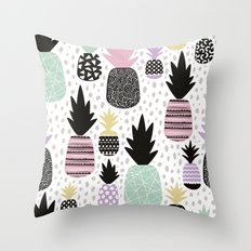 Summer pineapples in pastel color pop Throw Pillow