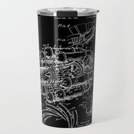 Jet Engine: Frank Whittle Turbojet Engine Patent - White on Black Travel Mug