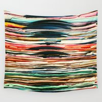 vinyl Wall Tapestries featuring Vintage Vinyl  by Laura Ruth