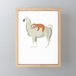 Cute & Funny Sloth Sleeping on Llama Framed Mini Art Print
