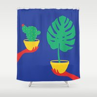 plants Shower Curtains featuring Plants by cristina benescu