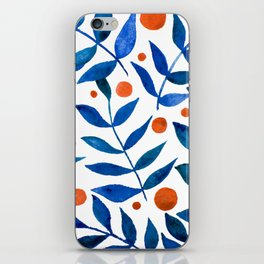 Watercolor berries and branches - blue and orange iPhone Skin