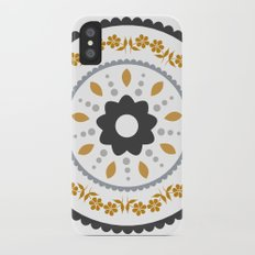 Floral suzani inspired golden centred iPhone X Slim Case