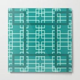 Midcentury Modern Geometric Turquoise Metal Print