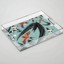 Swallows Martins and Swift pattern Turquoise Acrylic Tray