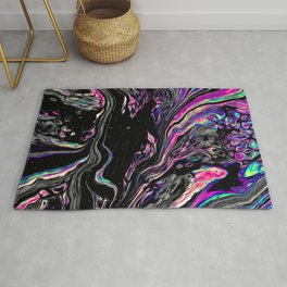 Silent Desperation Iridescent Space Vaporwave Marble Abstract Background. Rug