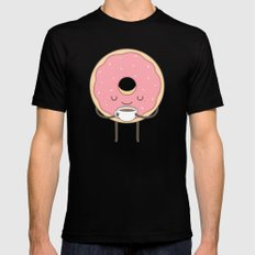 donut loves coffee Black Mens Fitted Tee MEDIUM