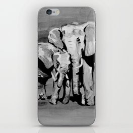 Black and white mother and baby elephant iPhone Skin