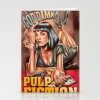 mia wallace Stationery Cards featuring Mia Wallace - Pulp Fiction by Renato Cunha