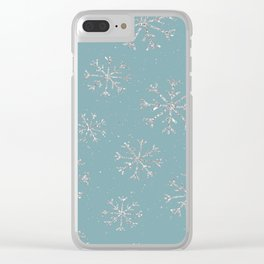 Silver snow Clear iPhone Case