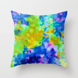 Royal Green and Yellow Ice Dye Throw Pillow