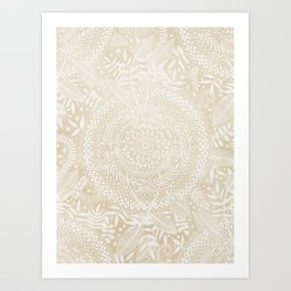 Medallion Pattern in Pale Tan Art Print
