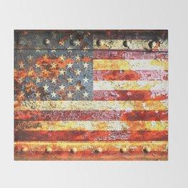 American Flag On Rusted Riveted Metal Door Throw Blanket