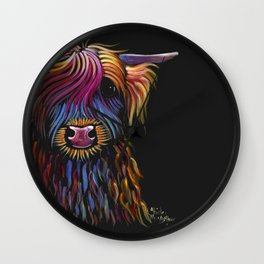 Scottish Highland Cow ' FLoWER PoT ' by Shirley MacArthur Wall Clock