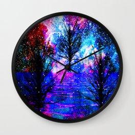 NEBULA TREES FANTASY OCEAN DREAMS Wall Clock