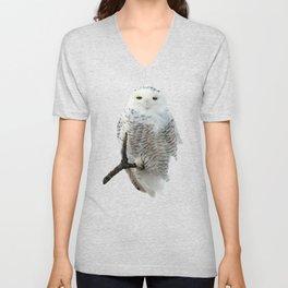 Snowy in the Wind (Snowy Owl) Unisex V-Neck
