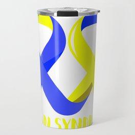 Ribbon Heart Down Syndrome Awareness design Gift For Moms Travel Mug