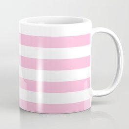 Narrow Horizontal Stripes - White and Cotton Candy Pink Coffee Mug
