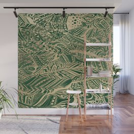Stylish forest green gold foil bohemian aztec feathers Wall Mural