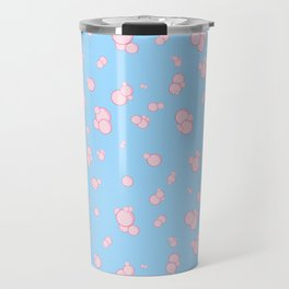 pink bubbles on blue Travel Mug