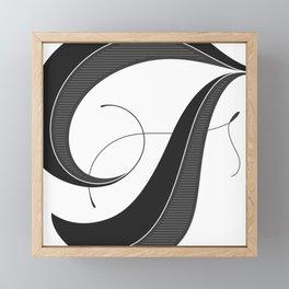Letter F - Script Lettering Cropped Design Framed Mini Art Print