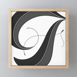 Letter F - Script Lettering Cropped Design Framed Mini Art Print