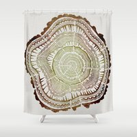 ombre Shower Curtains featuring Tree Rings – Watercolor Ombre by Cat Coquillette