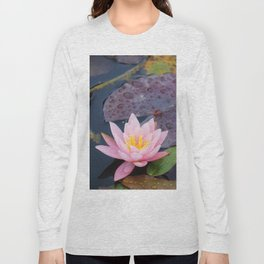 Pink water lily flower Long Sleeve T-shirt