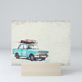 Blue Sedan on Snow at Daytime inpasto painting Mini Art Print