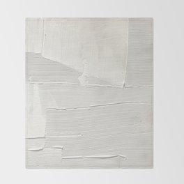 Relief [1]: an abstract, textured piece in white by Alyssa Hamilton Art Throw Blanket