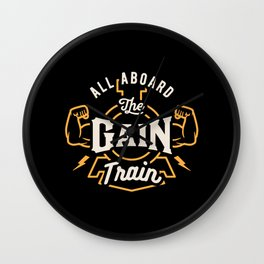 All Aboard The Gain Train Wall Clock