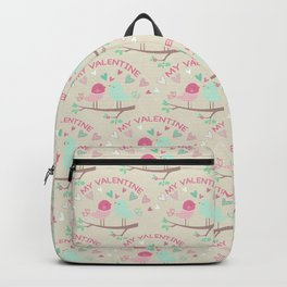 Pink teal gren love birds my valentine romantic floral Backpack