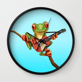 Tree Frog Playing Acoustic Guitar with Flag of Peru Wall Clock