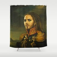 tim burton Shower Curtains featuring Tim Minchin - replaceface by replaceface