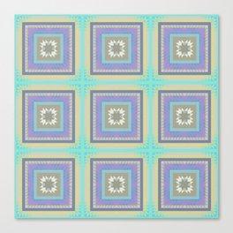PLACID mint green and mauve squares pattern Canvas Print