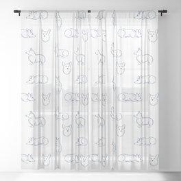 Corgi Pattern Sheer Curtain