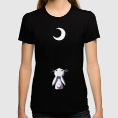 Moon Bunny X-LARGE Black Womens Fitted Tee