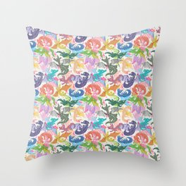 Rainbow Dragons Throw Pillow
