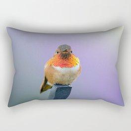 Rufous Hummingbird with lavender background Rectangular Pillow