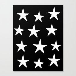 Star Pattern White On Black Canvas Print
