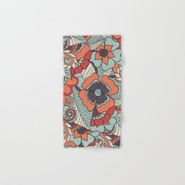 Colorful Vintage Floral Pattern Hand & Bath Towel