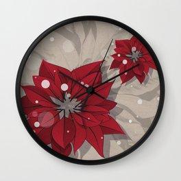 Poinsettias - Christmas flowers | BG Color I Wall Clock