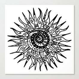 Sun Doodle black and white drawing Canvas Print