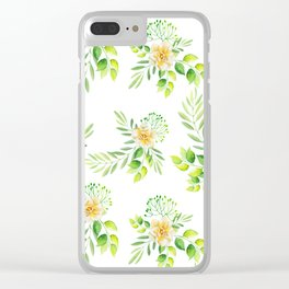 Watercolor yellow green hand painted camellia pattern Clear iPhone Case