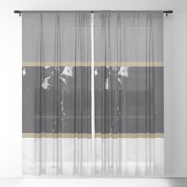 Marble Mix Stripes #1 #black #white #gray #gold #decor #art #society6 Sheer Curtain