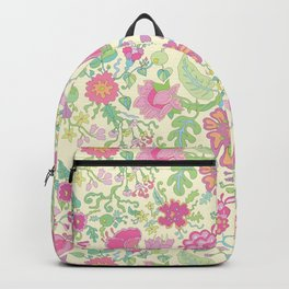 Pink and Peach Flowered curtains Backpack