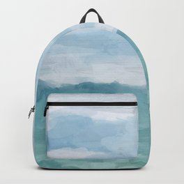 Mint Blue White Gray Abstract Wall Art Painting Backpack