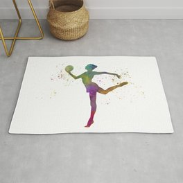 Young woman practices rhythmic gymnastics in watercolor 10 Rug
