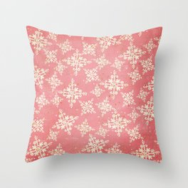 Red and Gold Snowflakes 1 Throw Pillow