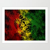 rasta Art Prints featuring Rasta Honu by Lonica Photography & Poly Designs